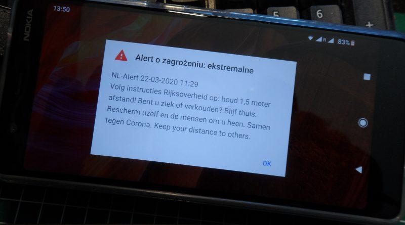 NL-Alert Holandia koronawirus 2020